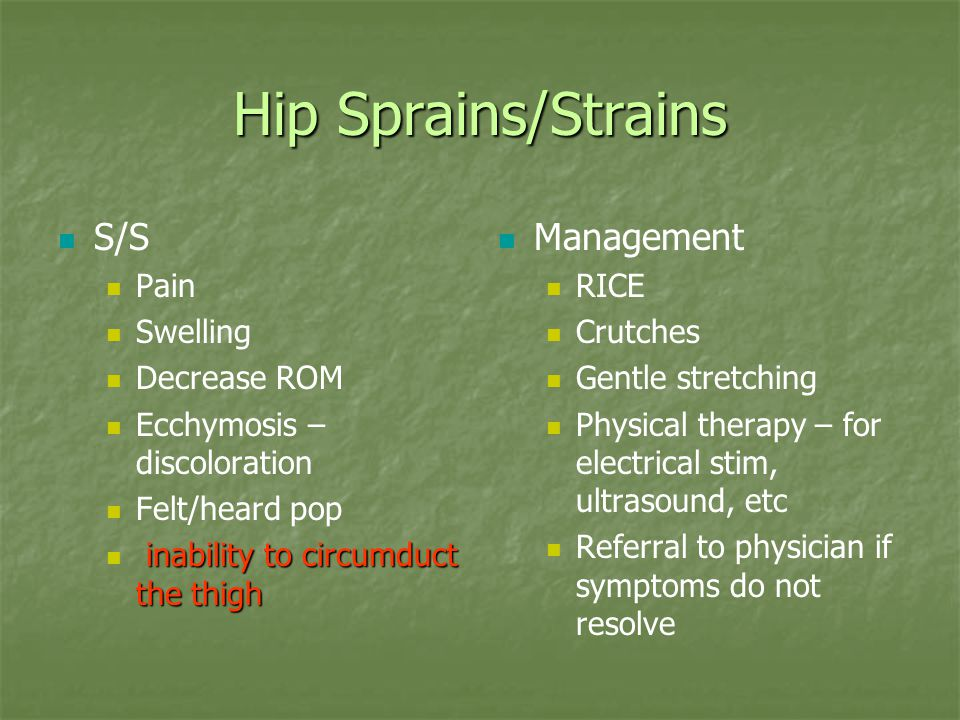 Hip Sprains/Strains S/S Management Pain Swelling Decrease ROM