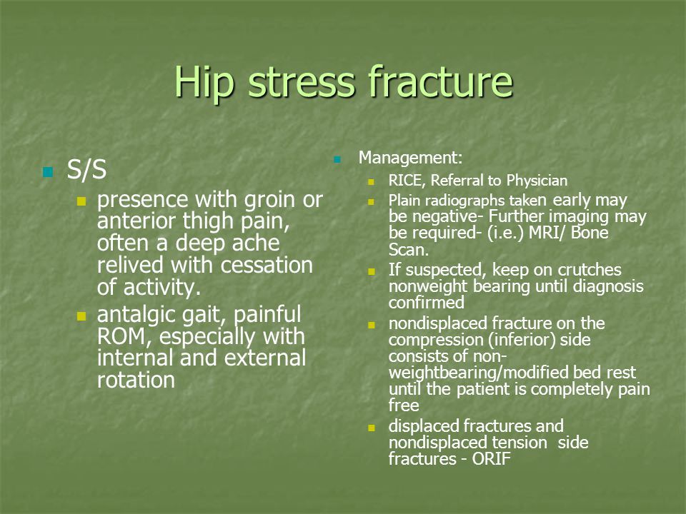 Hip stress fracture S/S