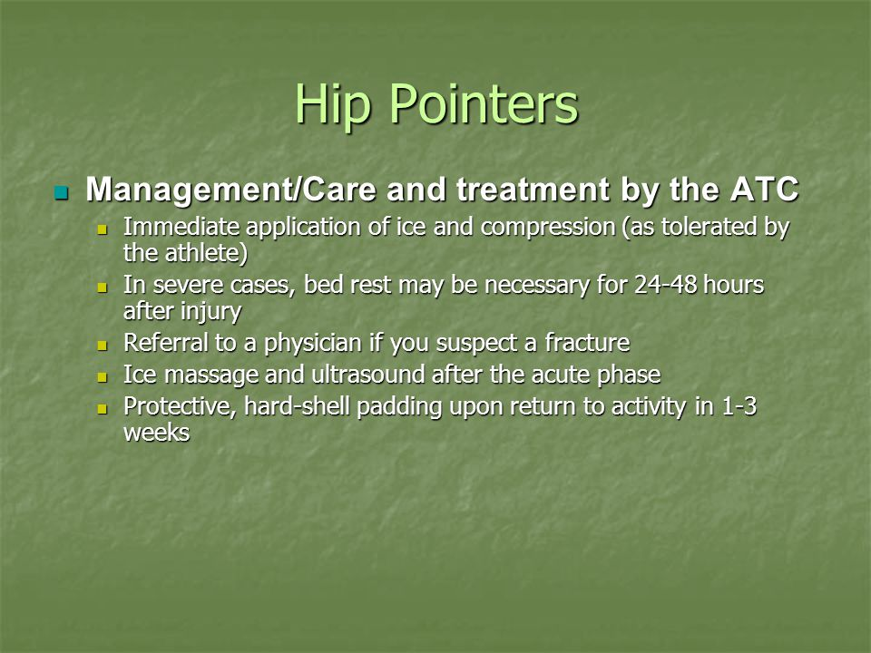 Hip Pointers Management/Care and treatment by the ATC