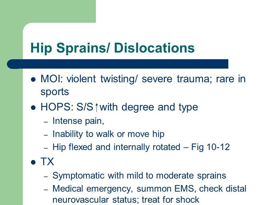 Hip Sprains/ Dislocations