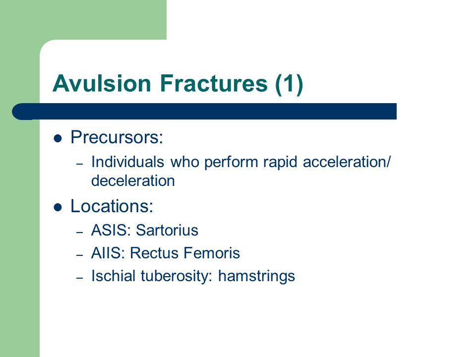 Avulsion Fractures (1) Precursors: Locations: