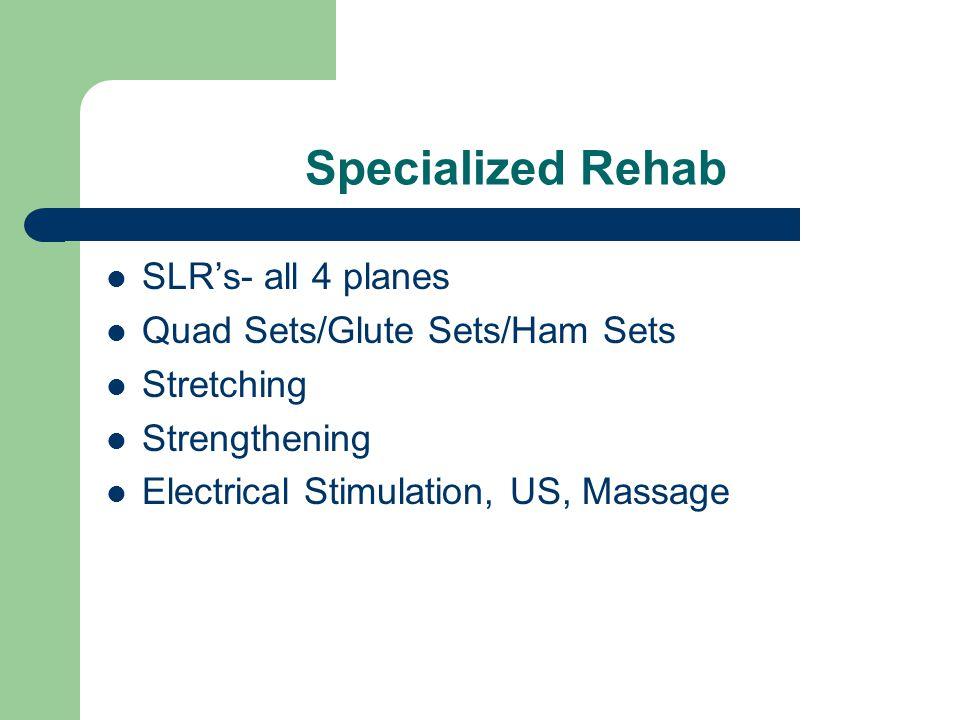 Specialized Rehab SLR's- all 4 planes Quad Sets/Glute Sets/Ham Sets
