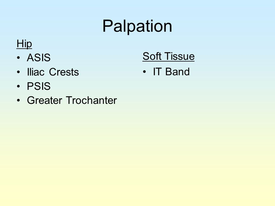 Palpation Hip ASIS Soft Tissue Iliac Crests IT Band PSIS