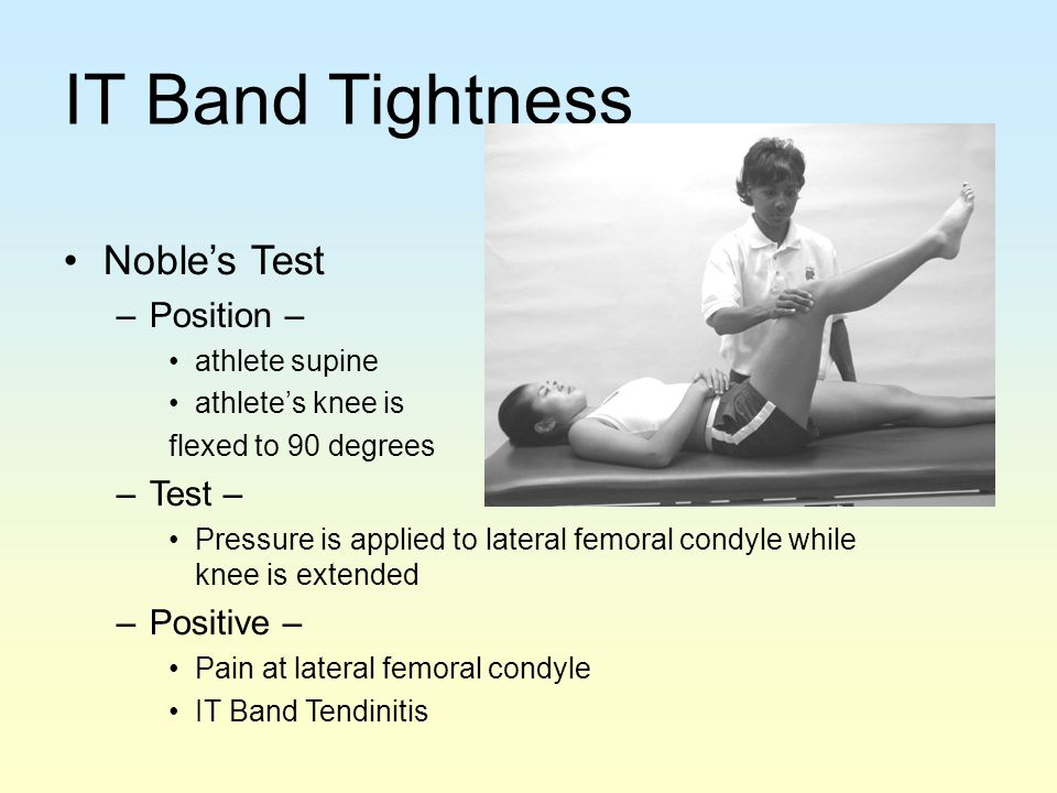 IT Band Tightness Noble's Test Position – Test – Positive –