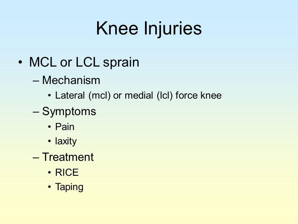 Knee Injuries MCL or LCL sprain Mechanism Symptoms Treatment