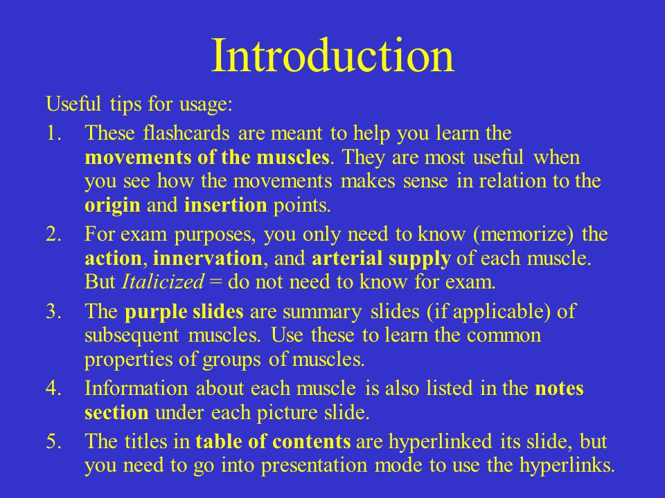Introduction Useful tips for usage: