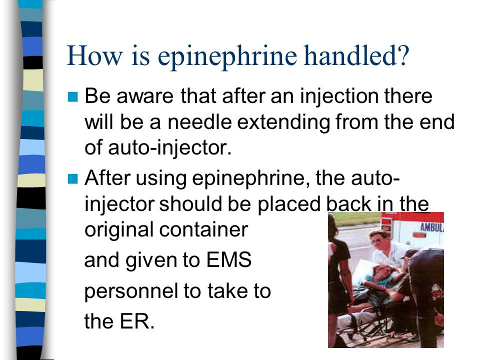How is epinephrine handled