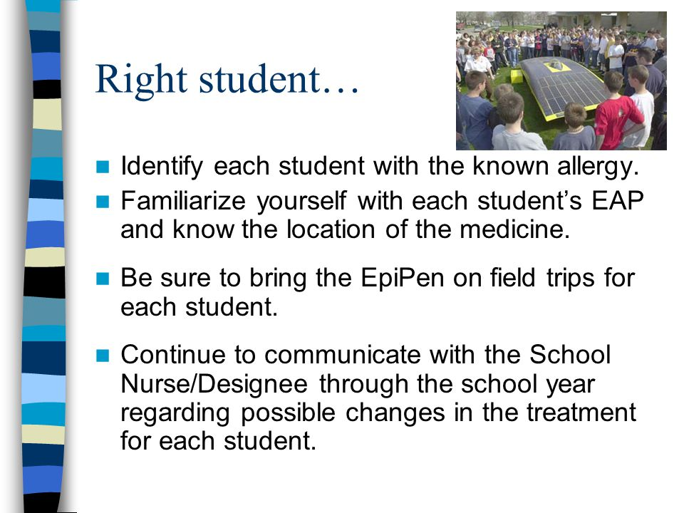 Right student… Identify each student with the known allergy.