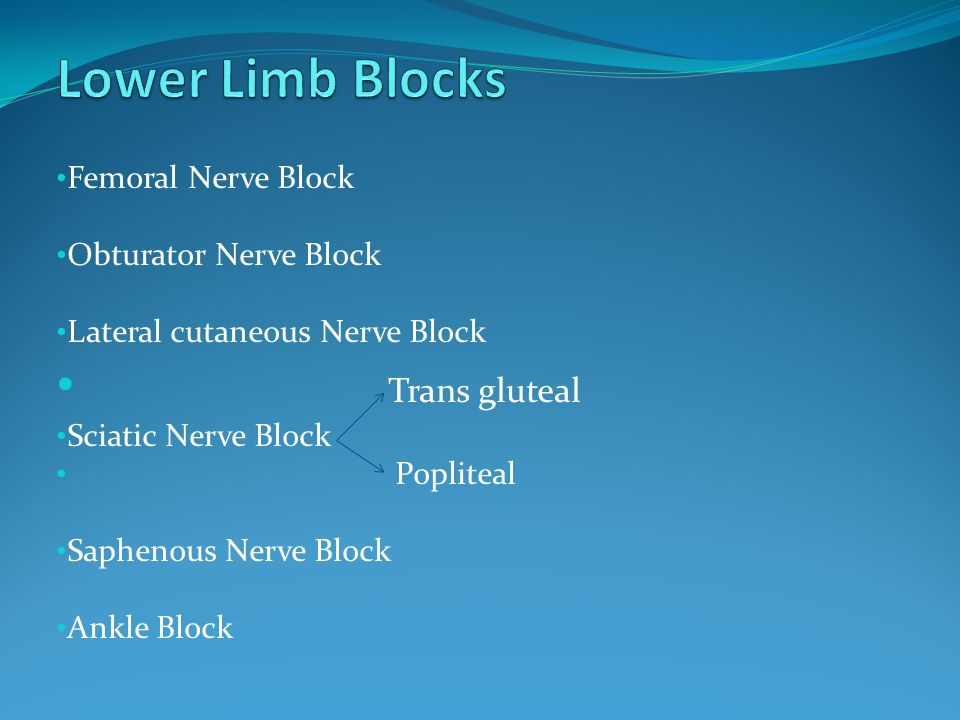 Lower Limb Blocks Trans gluteal Femoral Nerve Block