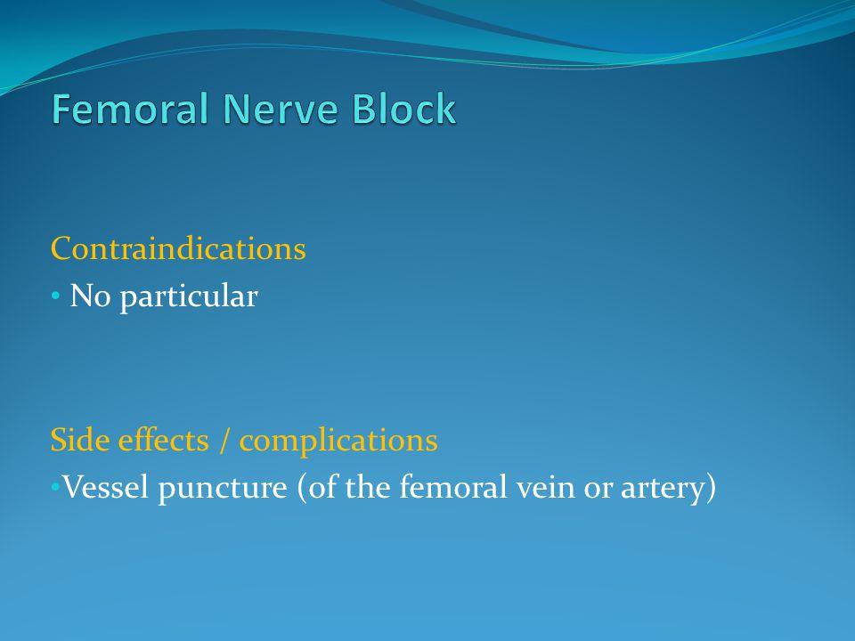 Femoral Nerve Block Contraindications No particular