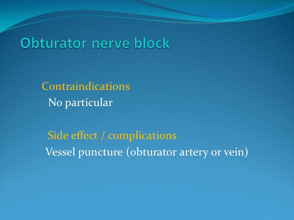 Obturator nerve block Contraindications No particular