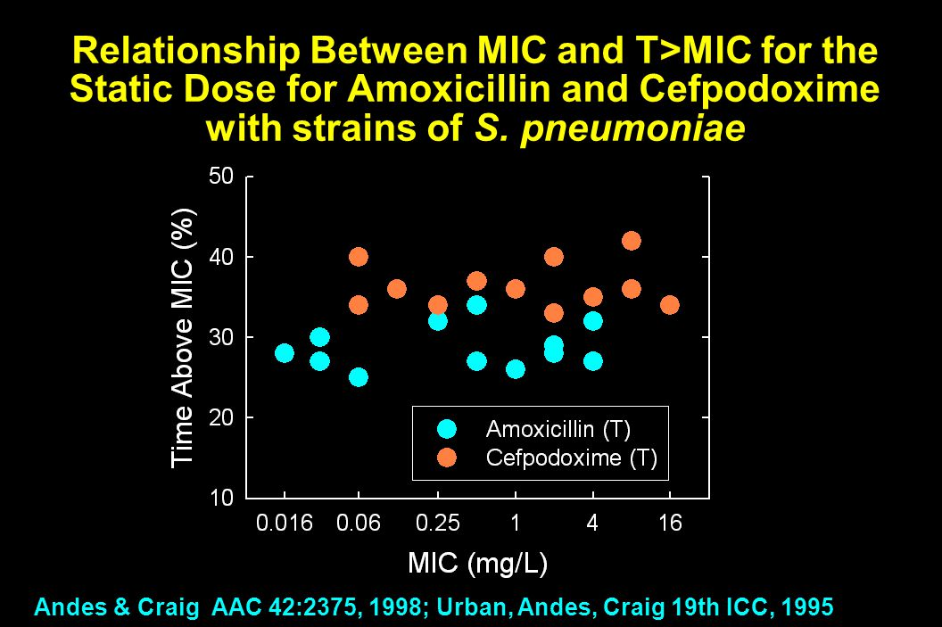 Relationship Between MIC and T>MIC for the Static Dose for Amoxicillin and Cefpodoxime with strains of S. pneumoniae