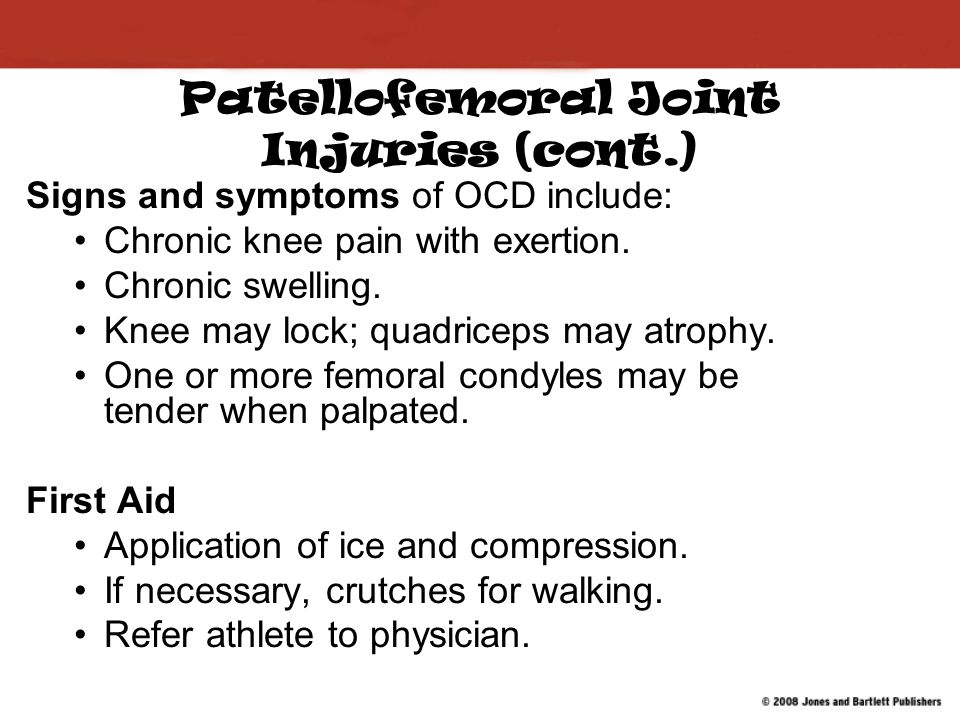 Patellofemoral Joint Injuries (cont.)