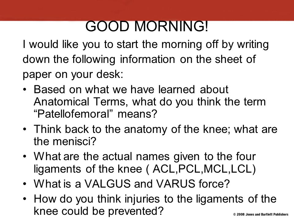 GOOD MORNING! I would like you to start the morning off by writing