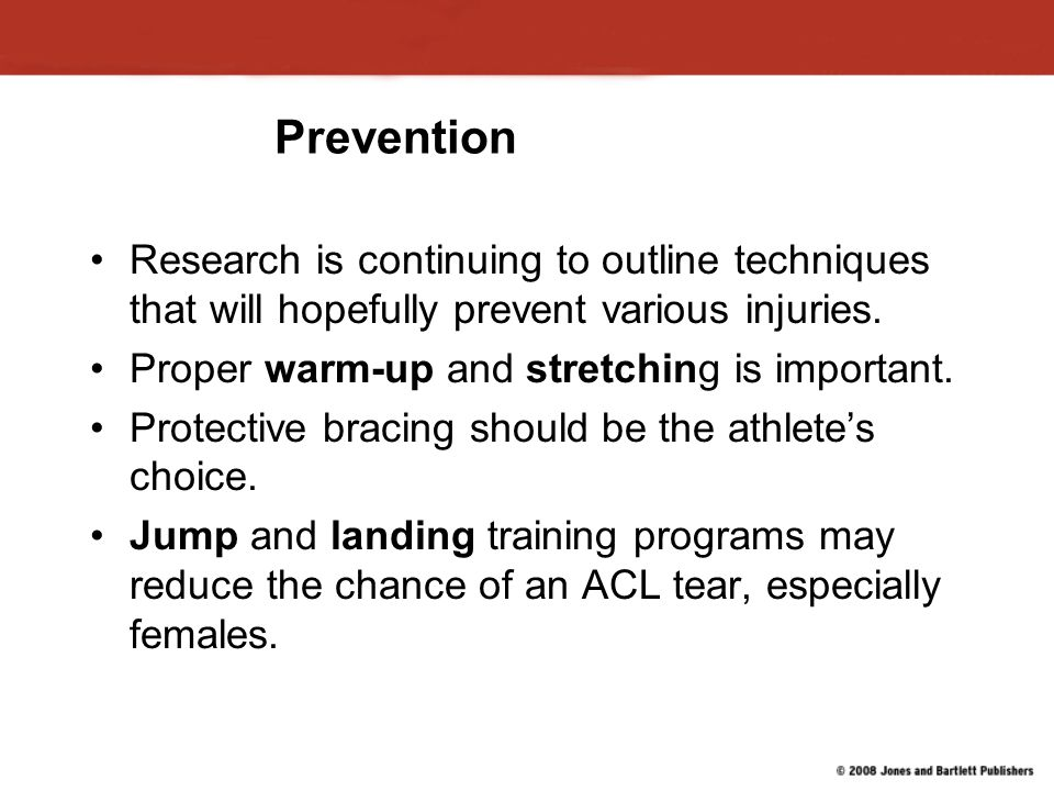 Prevention Research is continuing to outline techniques that will hopefully prevent various injuries.