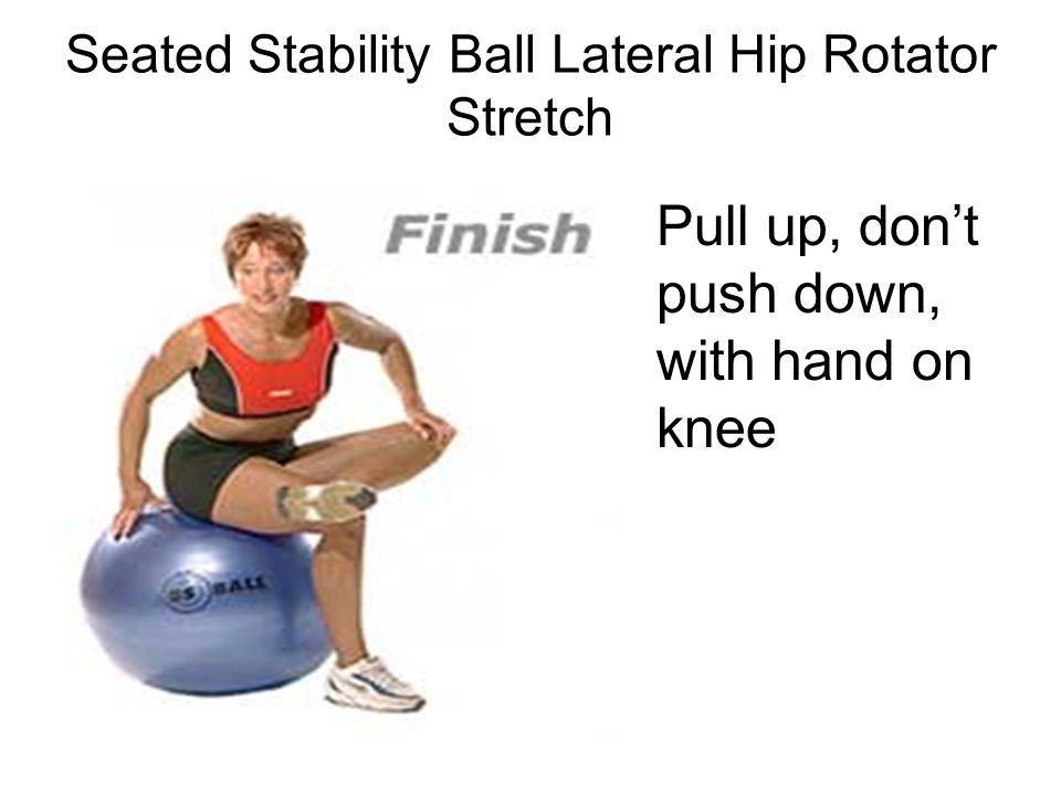 Seated Stability Ball Lateral Hip Rotator Stretch
