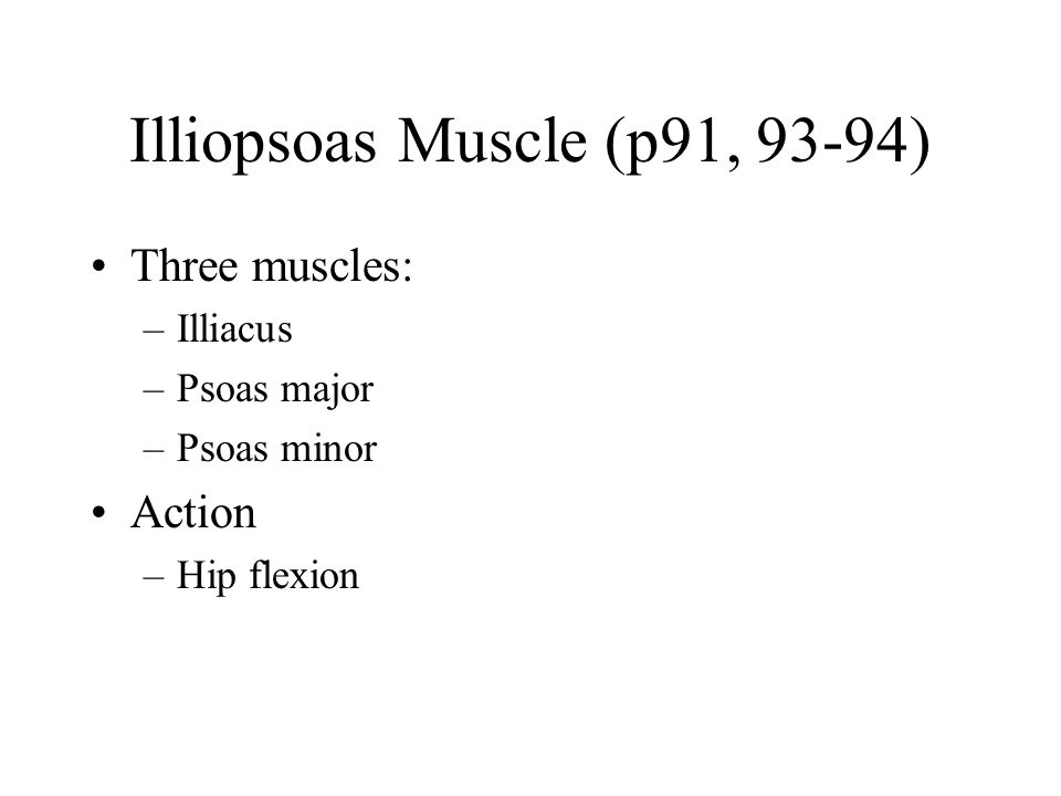 Illiopsoas Muscle (p91, 93-94)