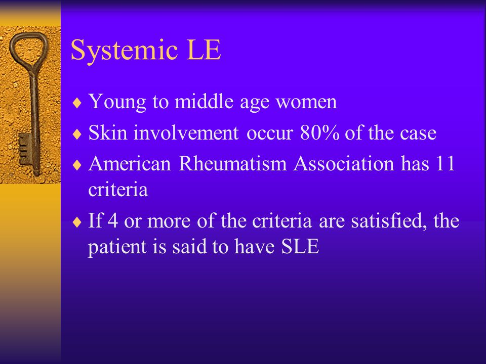 Systemic LE Young to middle age women
