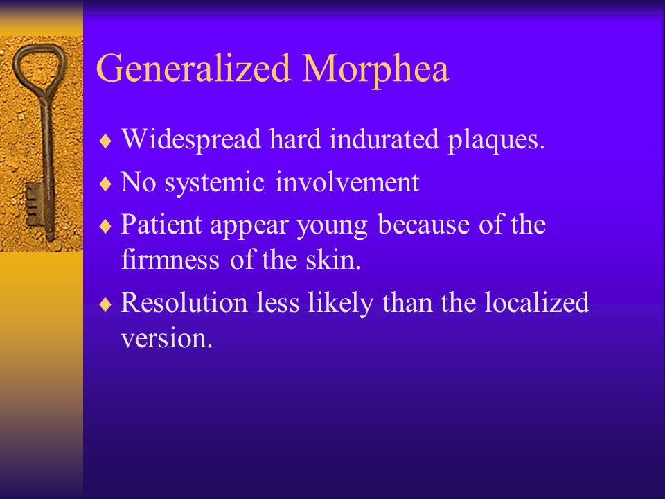 Generalized Morphea Widespread hard indurated plaques.