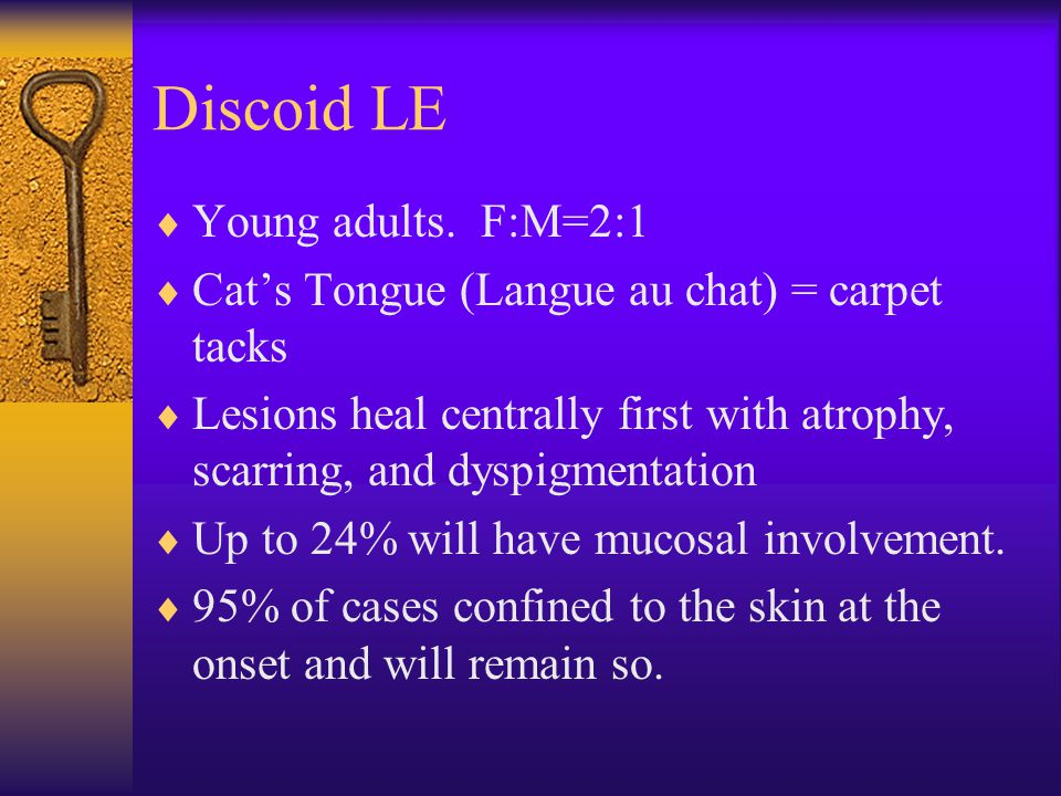 Discoid LE Young adults. F:M=2:1