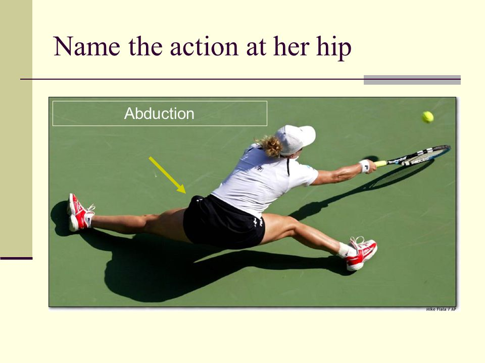 Name the action at her hip