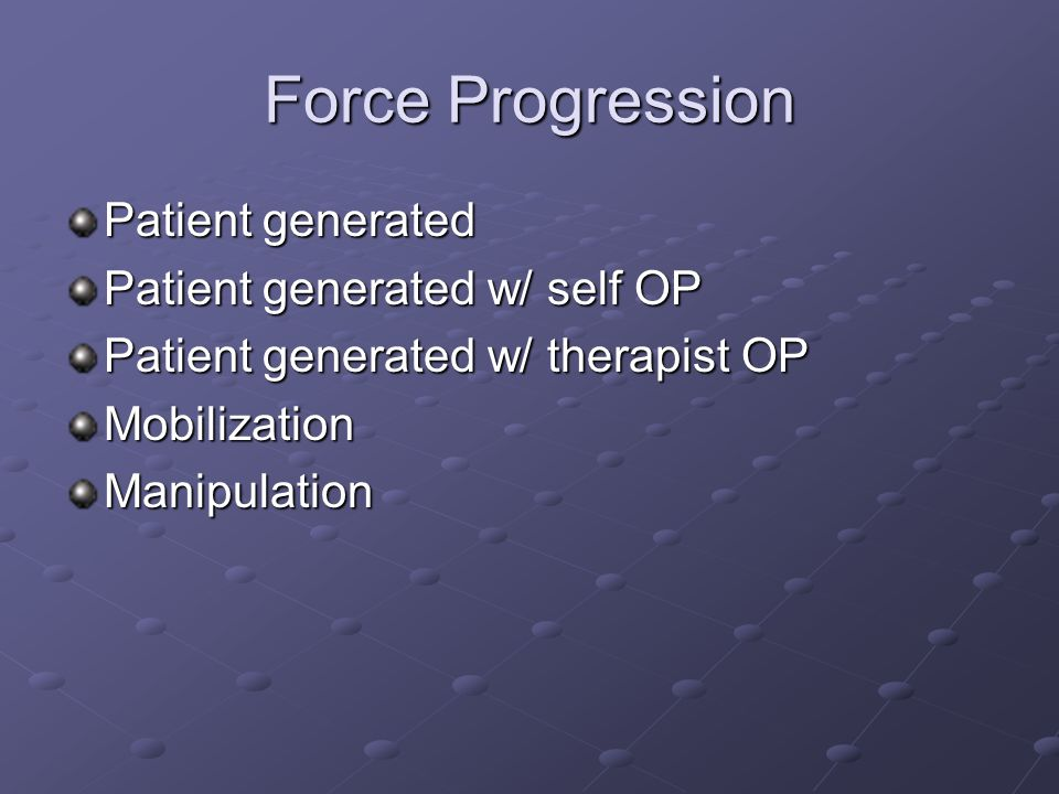 Force Progression Patient generated Patient generated w/ self OP