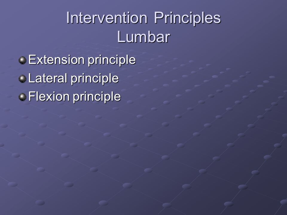 Intervention Principles Lumbar