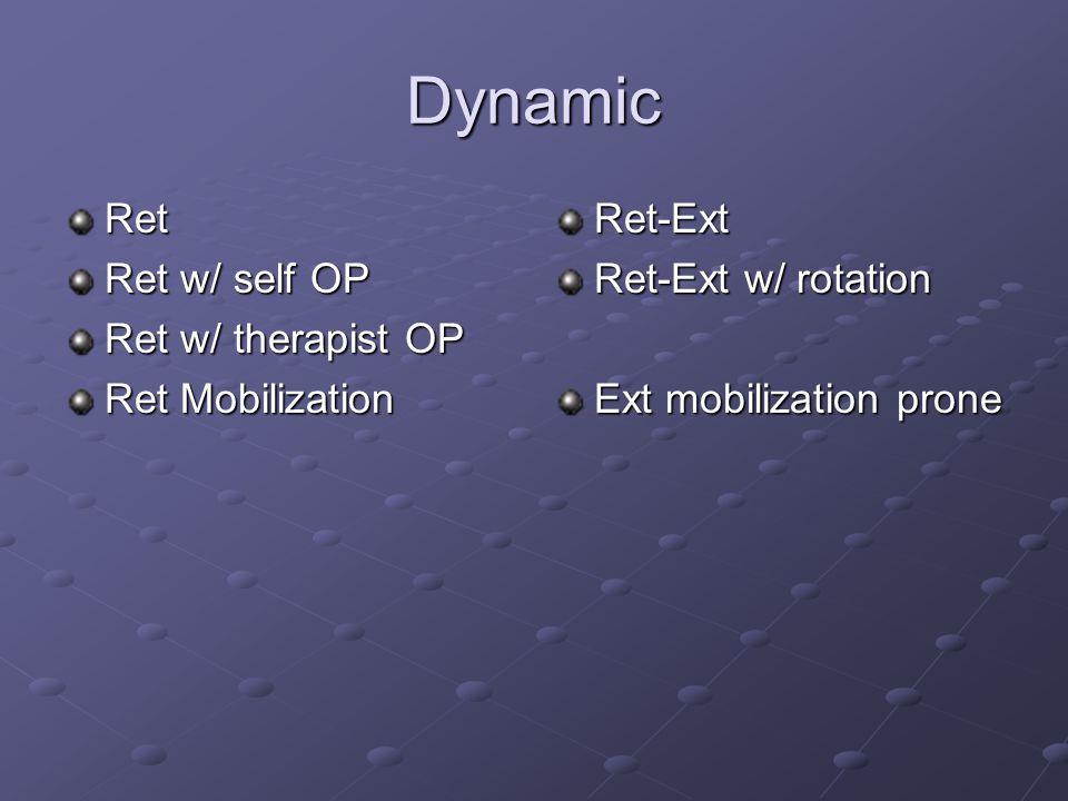 Dynamic Ret Ret w/ self OP Ret w/ therapist OP Ret Mobilization