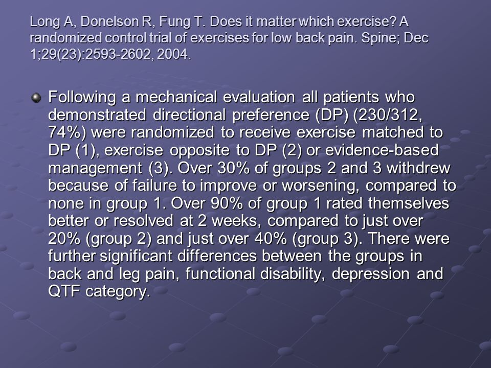 Long A, Donelson R, Fung T. Does it matter which exercise