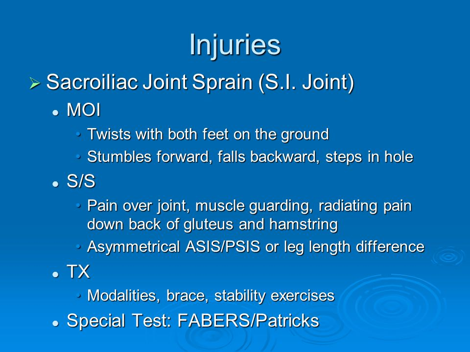 Injuries Sacroiliac Joint Sprain (S.I. Joint) MOI S/S TX