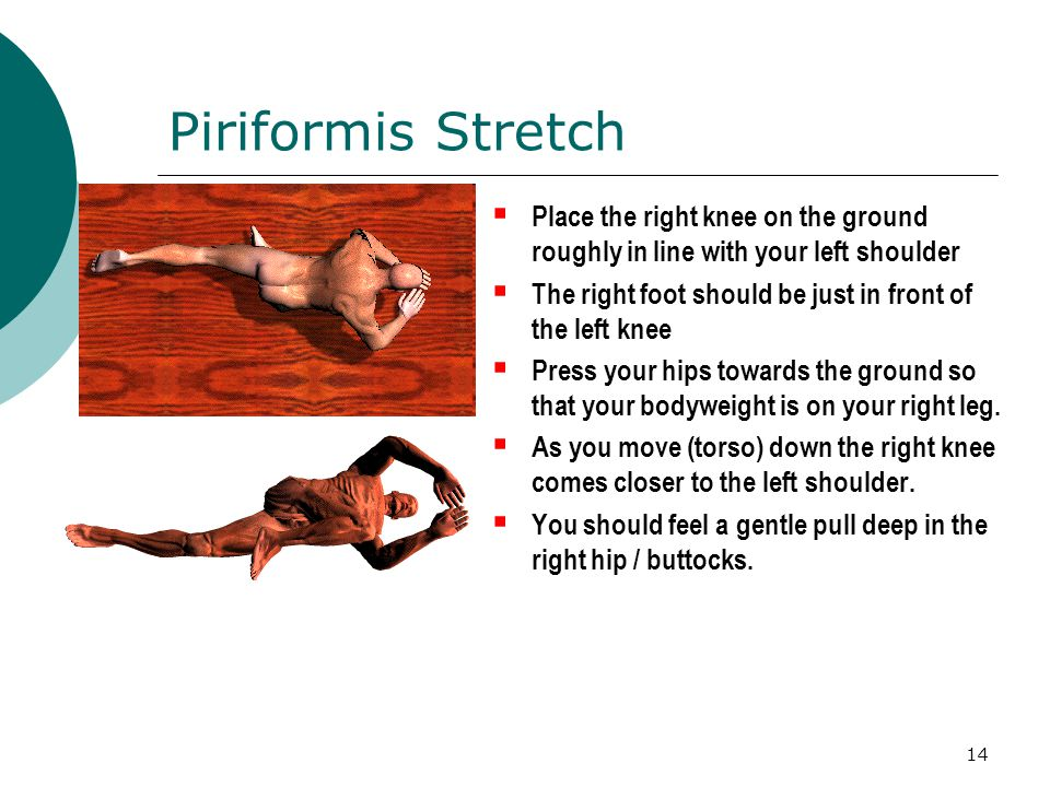 Piriformis Stretch Place the right knee on the ground roughly in line with your left shoulder.