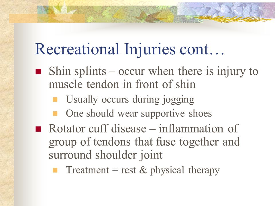 Recreational Injuries cont…