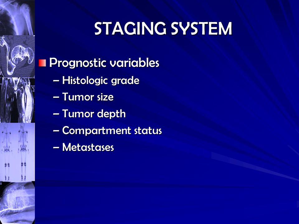 STAGING SYSTEM Prognostic variables Histologic grade Tumor size