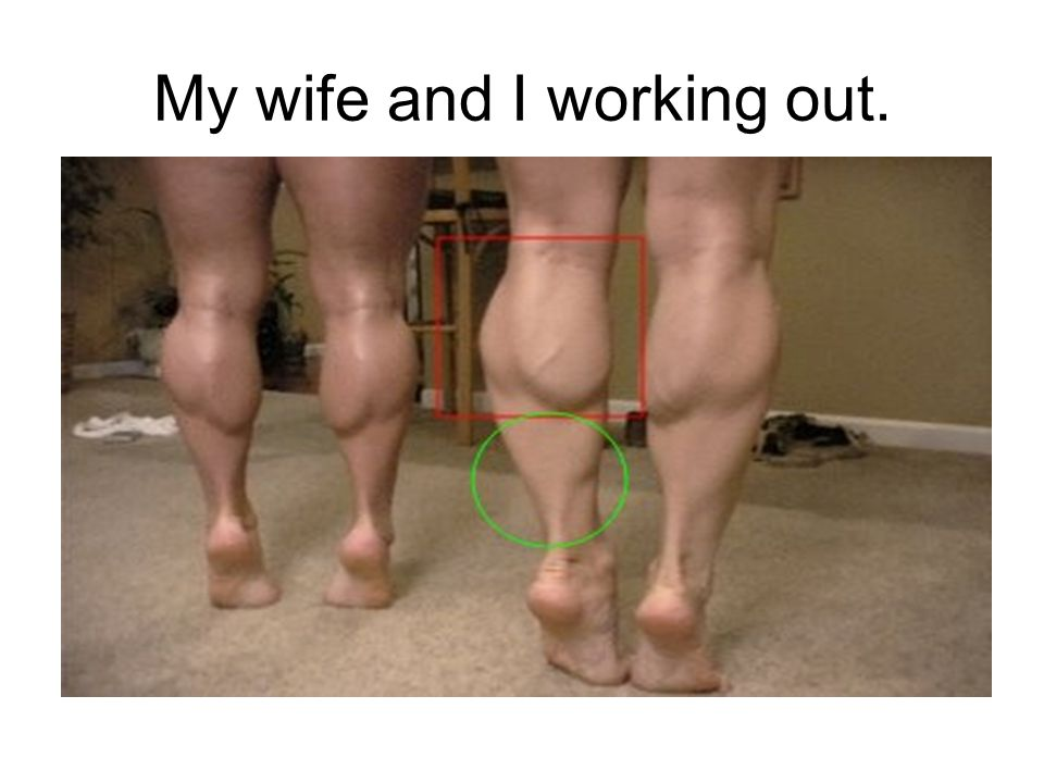 My wife and I working out.