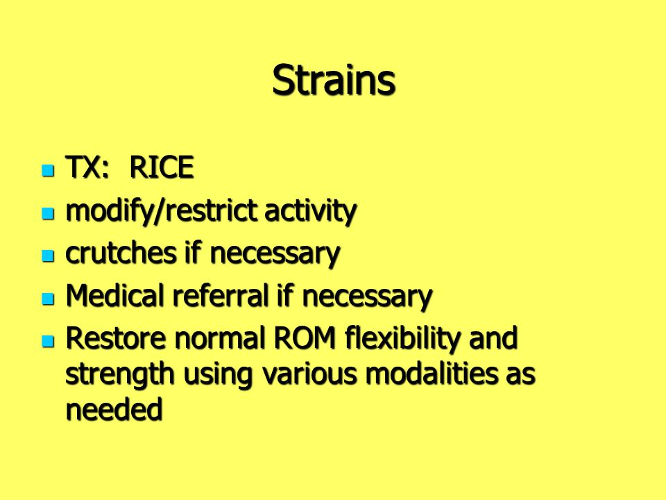 Strains TX: RICE modify/restrict activity crutches if necessary