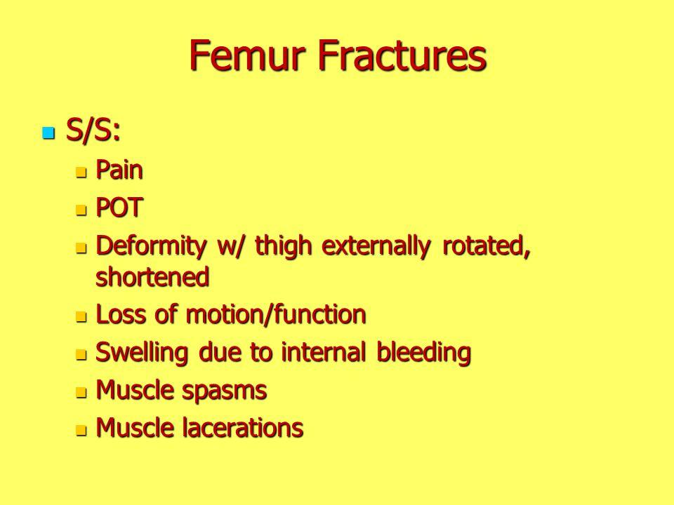 Femur Fractures S/S: Pain POT