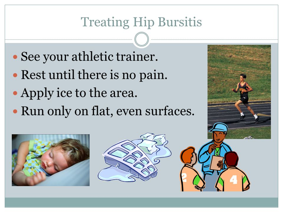 Treating Hip Bursitis See your athletic trainer.