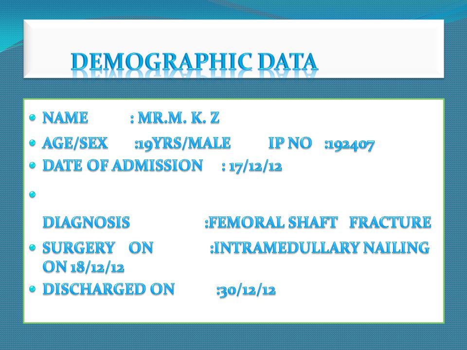 DEMOGRAPHIC DATA NAME : MR.M. K. Z AGE/SEX :19YRS/MALE IP NO :192407