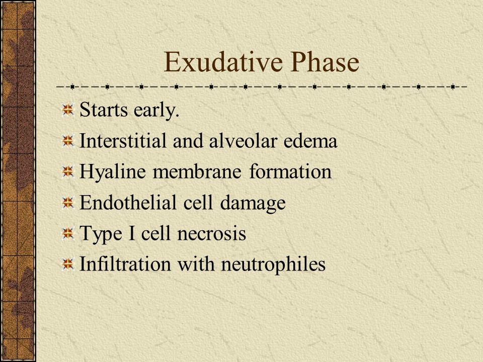 Exudative Phase Starts early. Interstitial and alveolar edema
