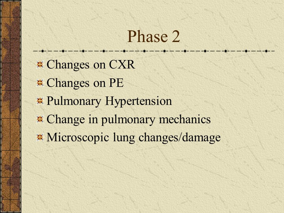 Phase 2 Changes on CXR Changes on PE Pulmonary Hypertension