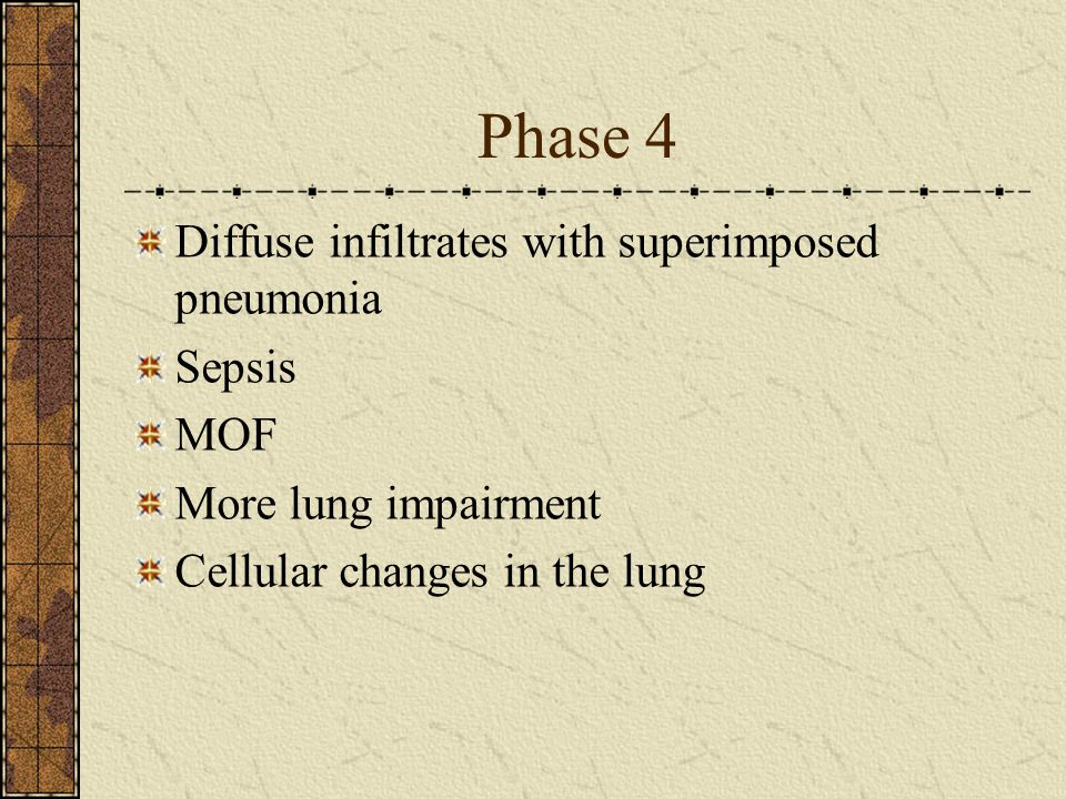 Phase 4 Diffuse infiltrates with superimposed pneumonia Sepsis MOF