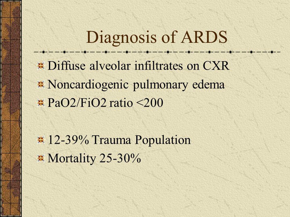 Diagnosis of ARDS Diffuse alveolar infiltrates on CXR