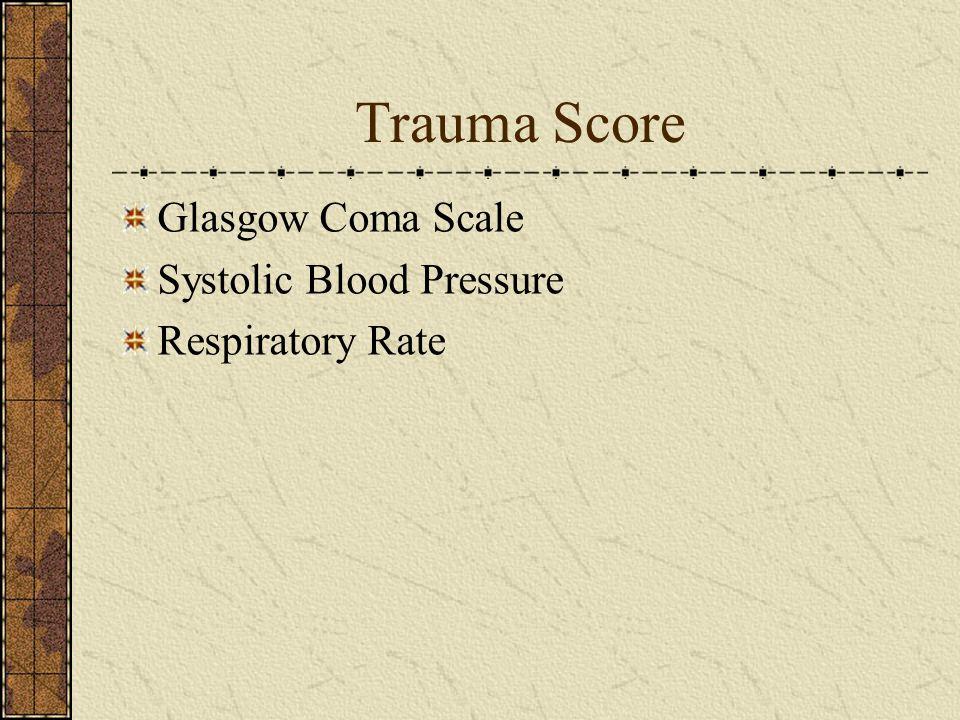 Trauma Score Glasgow Coma Scale Systolic Blood Pressure