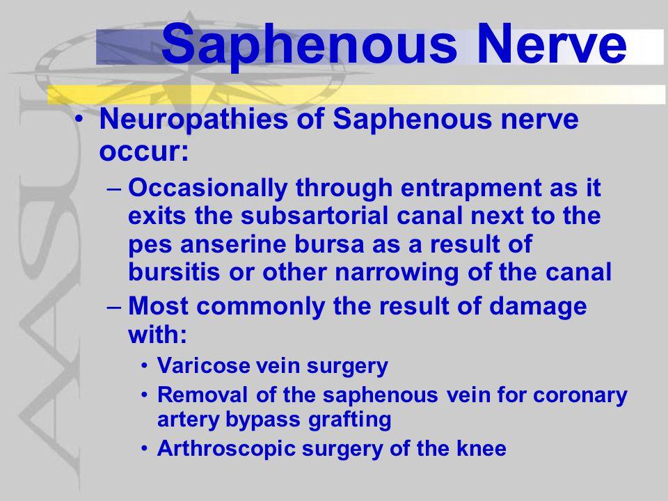 Saphenous Nerve Neuropathies of Saphenous nerve occur: