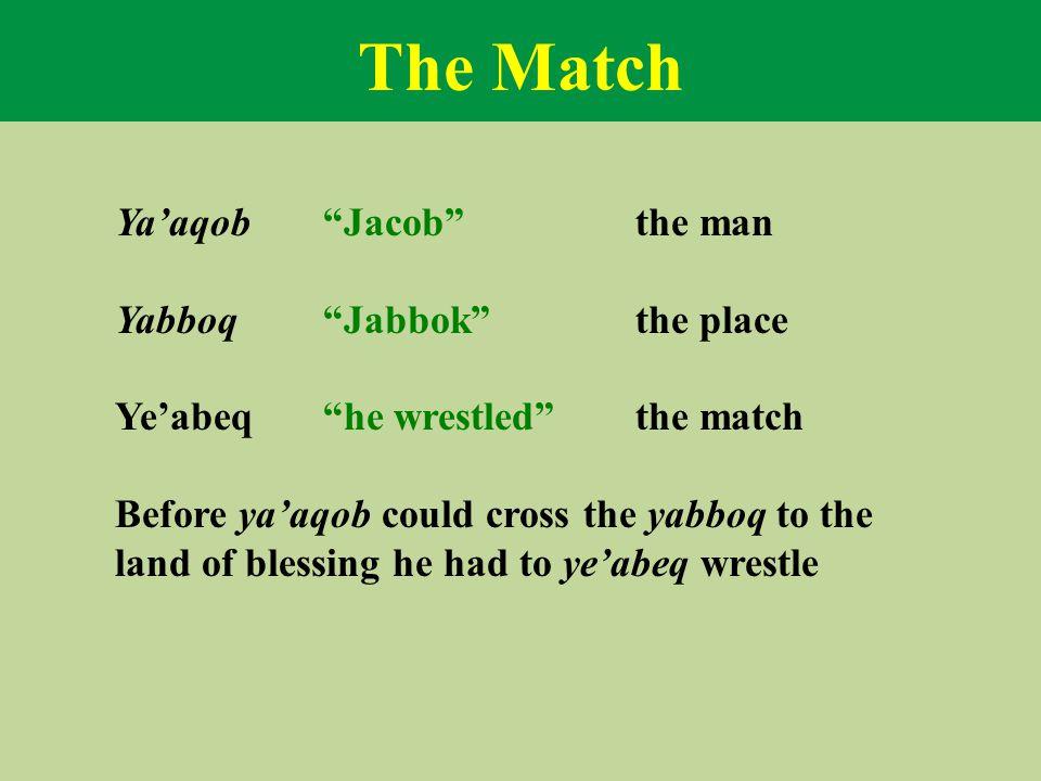 The Match Ya'aqob Jacob the man Yabboq Jabbok the place