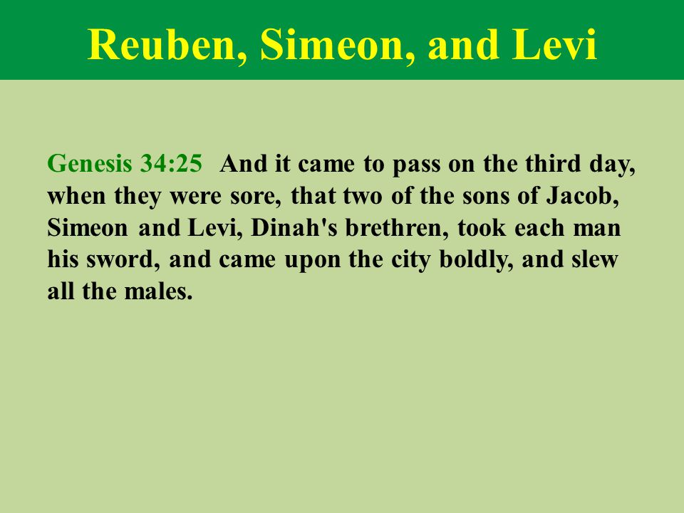 Reuben, Simeon, and Levi