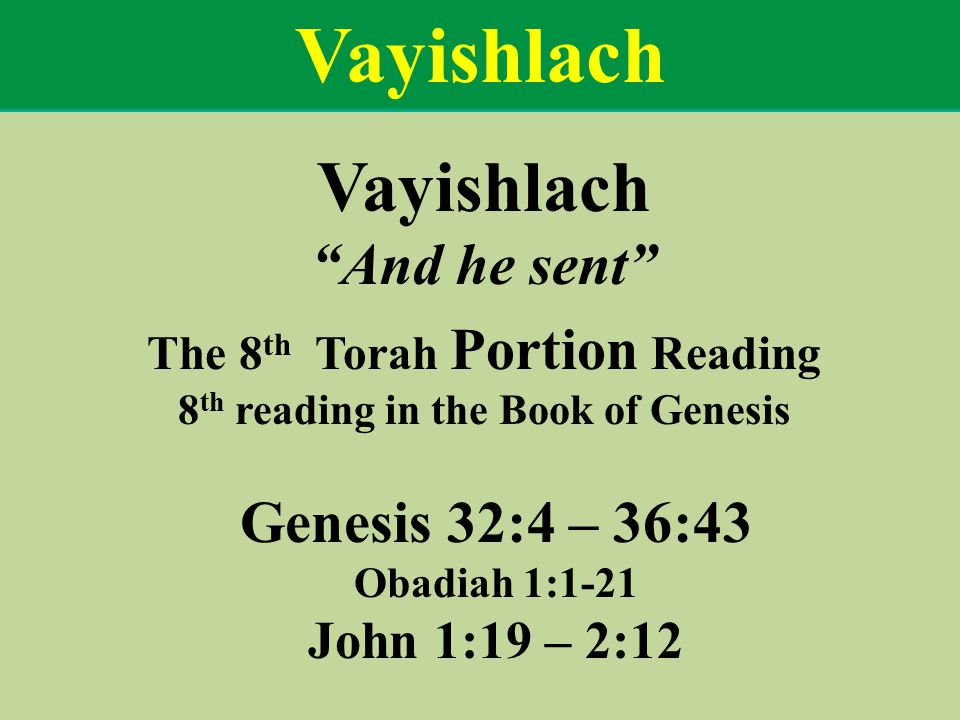 The 8th Torah Portion Reading 8th reading in the Book of Genesis