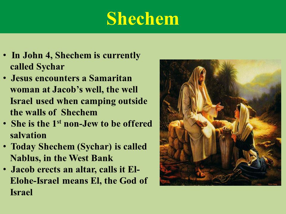 Shechem In John 4, Shechem is currently called Sychar