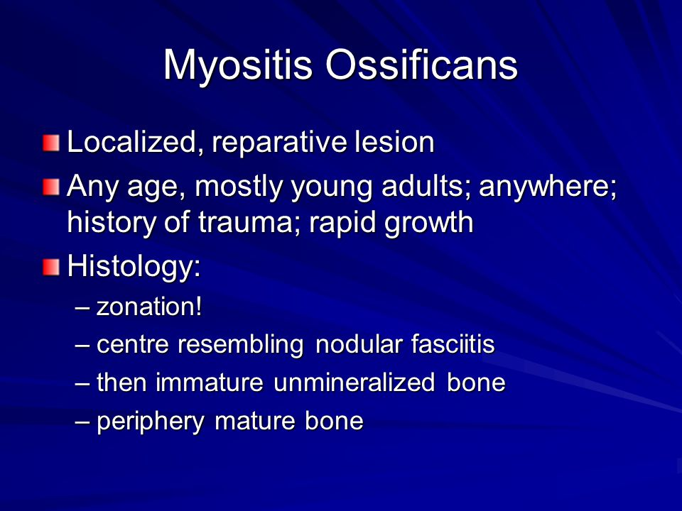 Myositis Ossificans Localized, reparative lesion