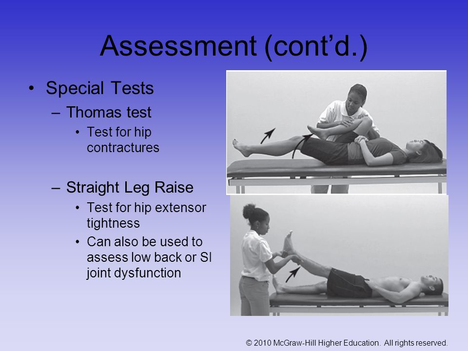 Assessment (cont'd.) Special Tests Thomas test Straight Leg Raise